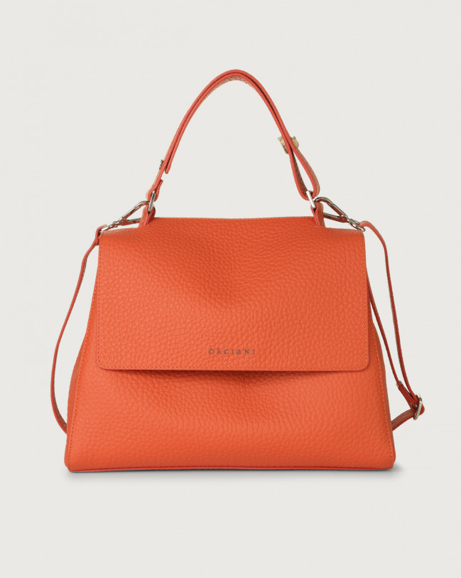 Orciani Sveva Soft medium leather shoulder bag with strap Leather Coral