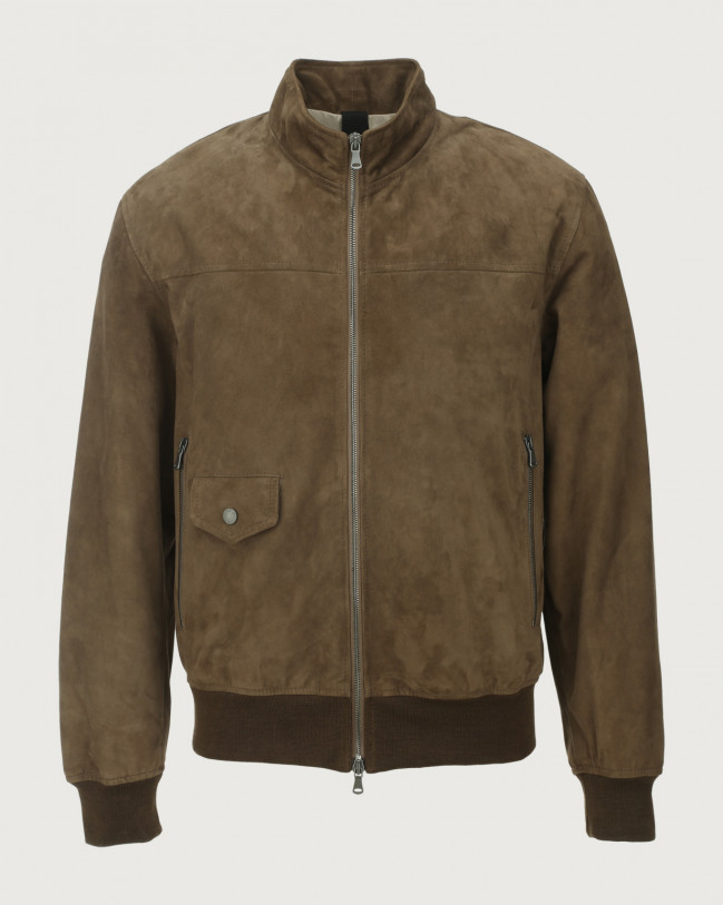 Orciani Camoscio suede jacket Leather Elephant Grey