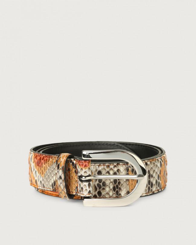 Orciani Naponos pyhton leather belt Python Leather Orange