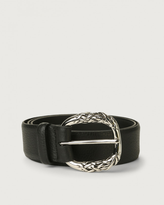 Orciani Micron leather belt with engraved buckle Leather Black