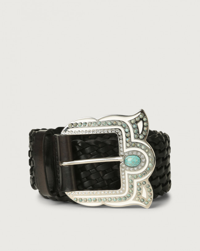 Orciani Masculine high-waist woven leather belt Leather Black