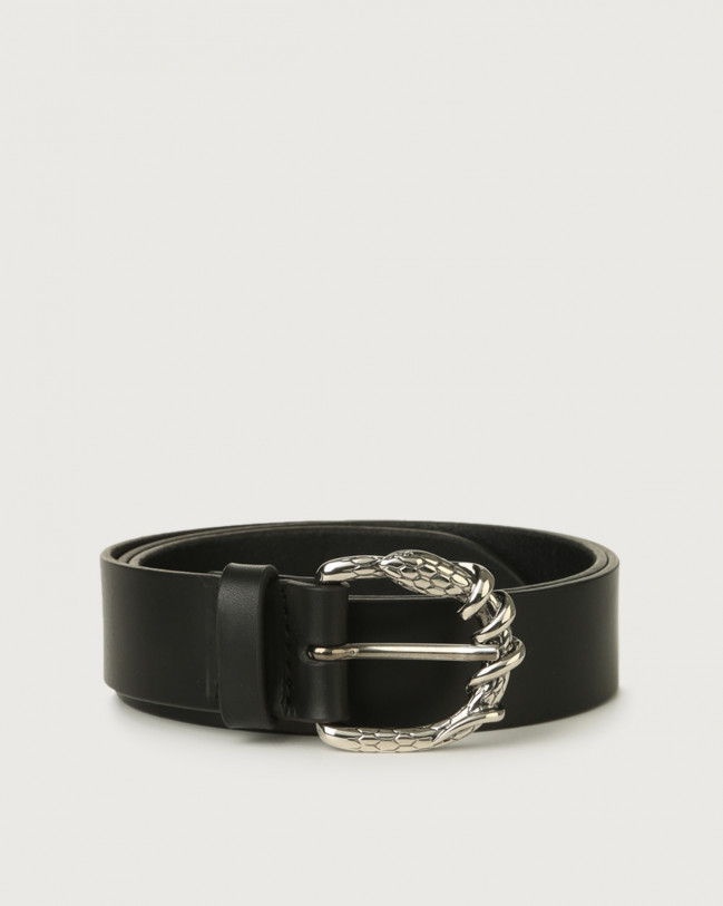 Orciani Bull leather belt with snake buckle Leather Black