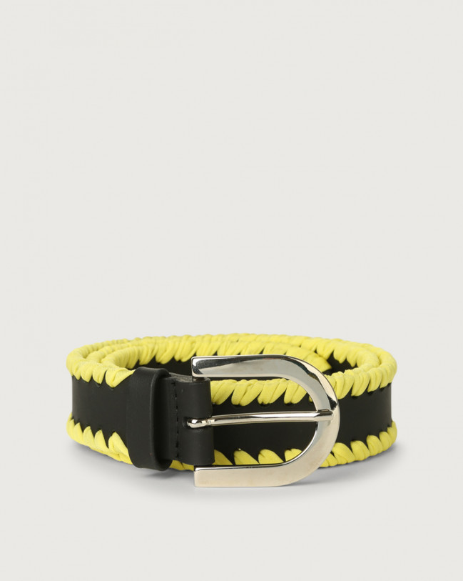 Orciani Carioca leather belt Leather & cotton Black+Yellow