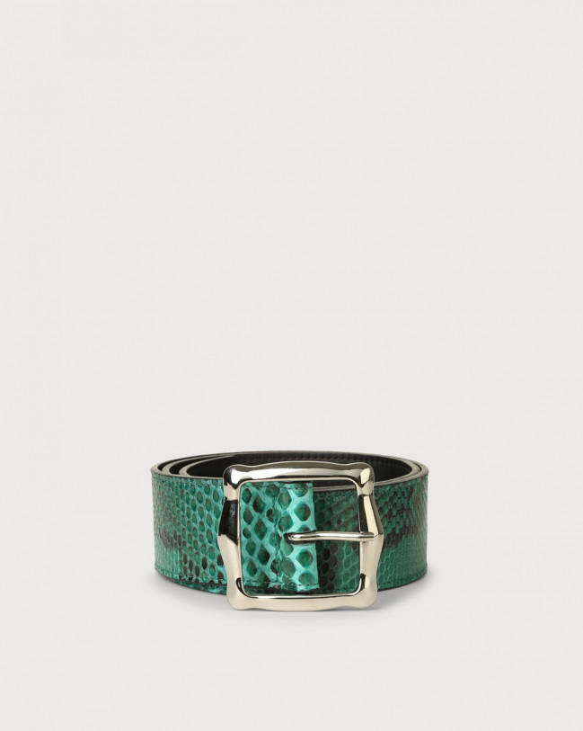 Orciani Diamond high-waist pyhton leather belt Python Leather Emerald Green
