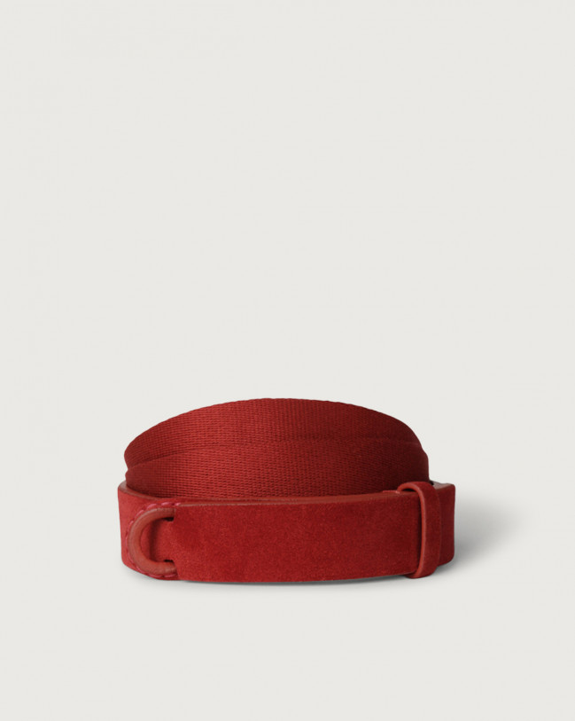 Orciani Suede and fabric Suede Nobuckle belt Canvas, Suede Red
