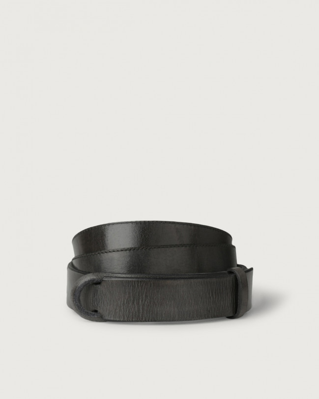 Orciani Dive leather Nobuckle belt Leather Dark Grey