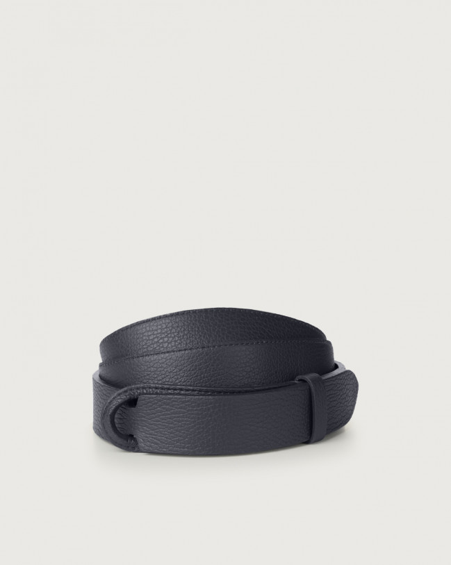 Orciani Micron leather Nobuckle belt Leather Navy
