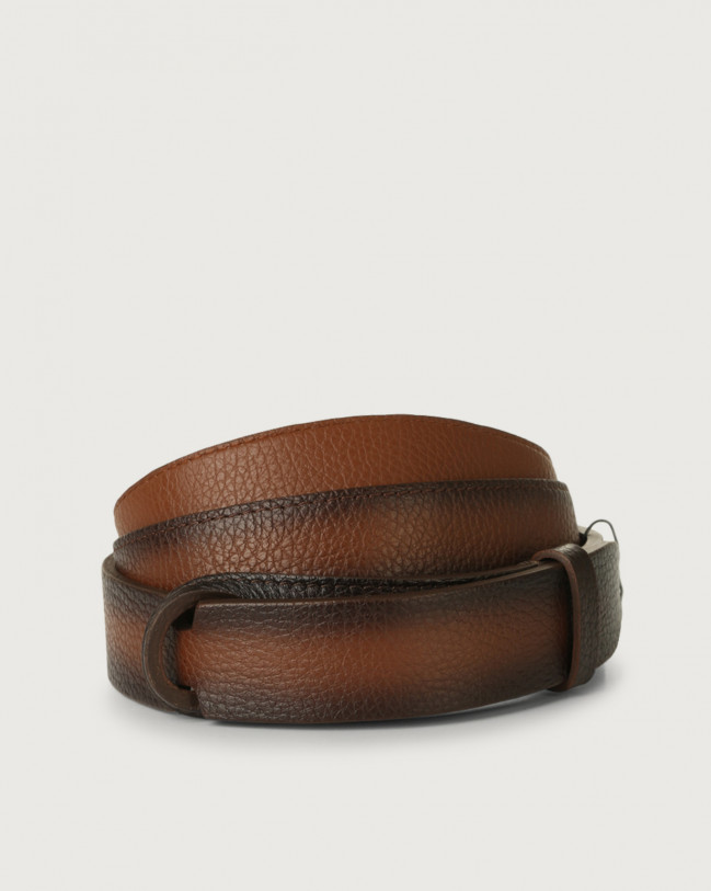 Orciani Micron Deep leather Nobuckle belt Leather Burnt