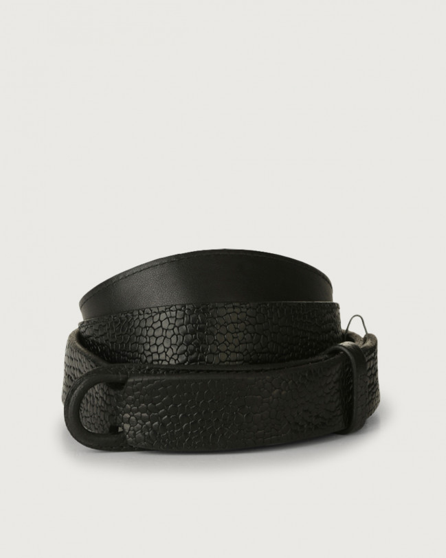 Orciani Grit leather Nobuckle belt Embossed leather Black