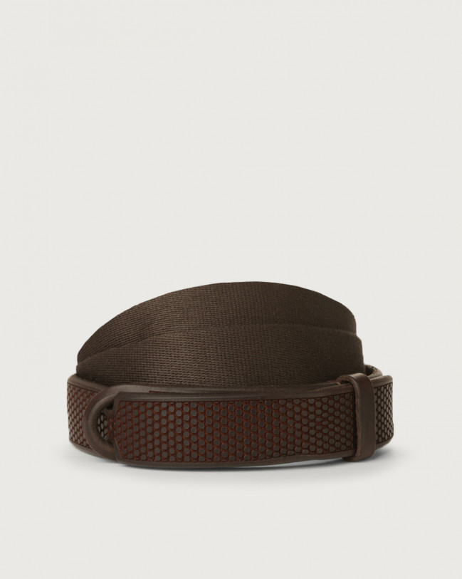 Orciani Bull Soft leather and fabric Nobuckle belt Leather Chocolate