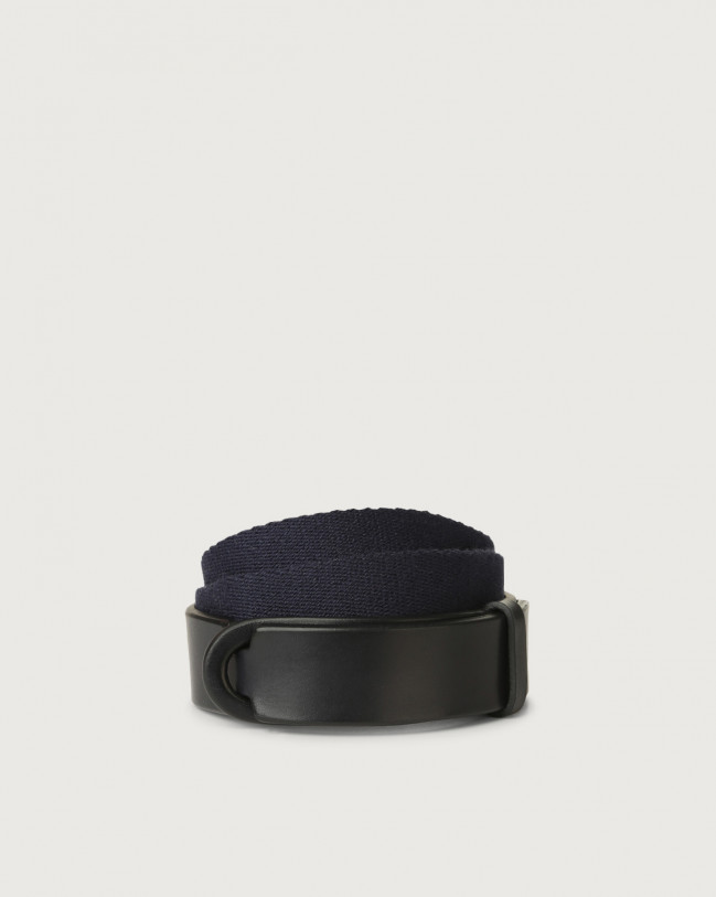 Orciani Bull leather and fabric Nobuckle Kids belt Leather & fabric Blue