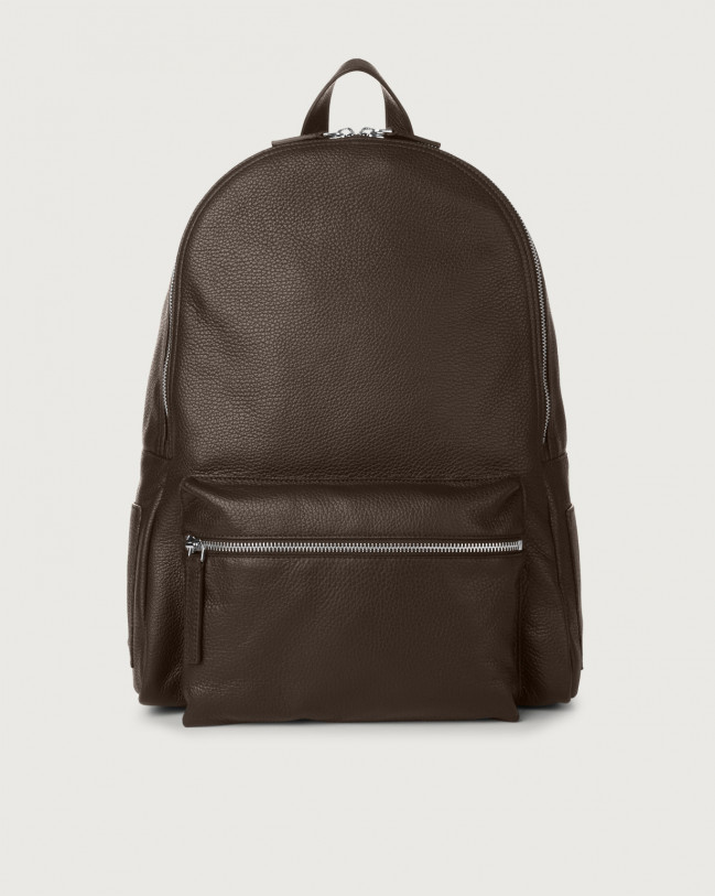 Orciani Micron leather backpack Leather Chocolate