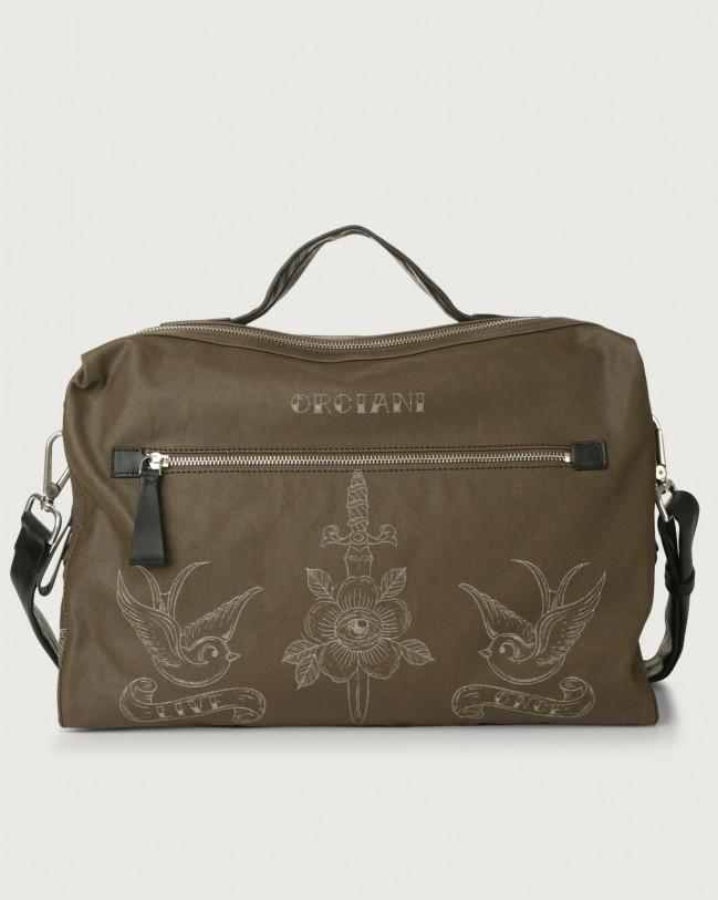 Orciani Bond Skin fabric and leather duffle bag Leather & fabric Black