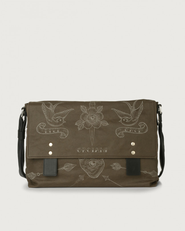 Orciani Skin fabric and leather messenger bag Black