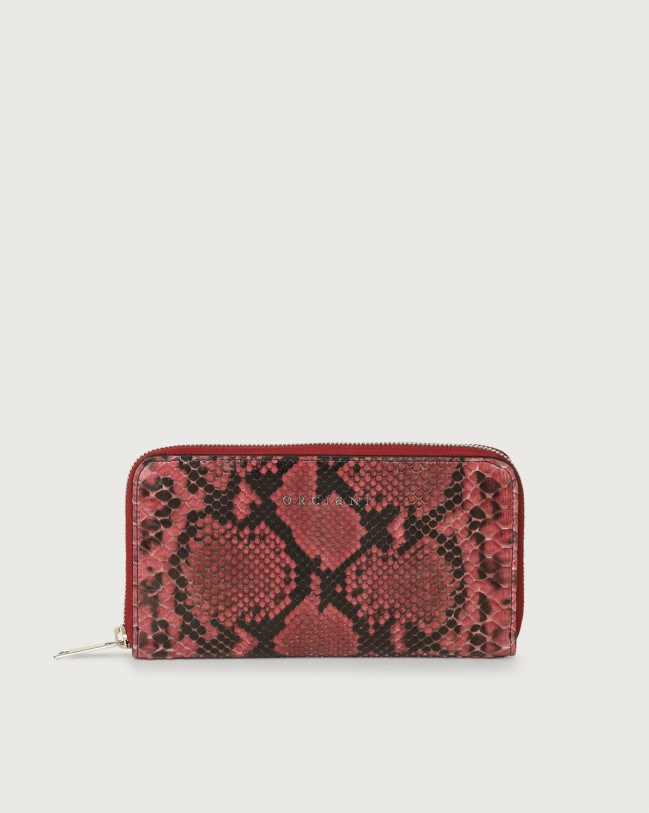 Orciani Diamond large python leather wallet with zip Python Leather Pink