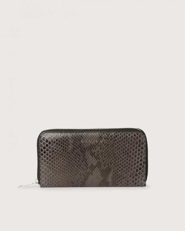 Orciani Diamond large python leather wallet with zip Python Leather Charcoal Grey