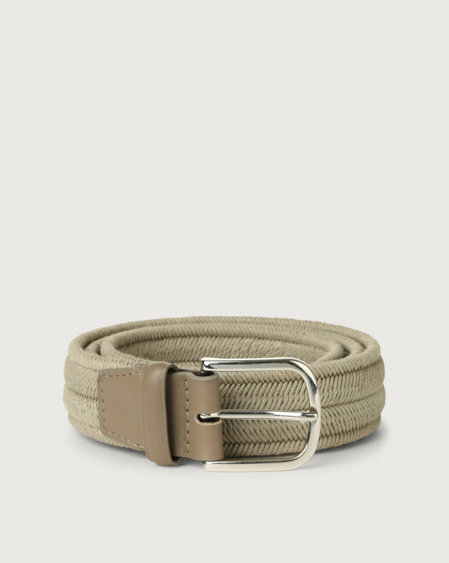Orciani Elast cotton and suede belt Leather & cotton Grey