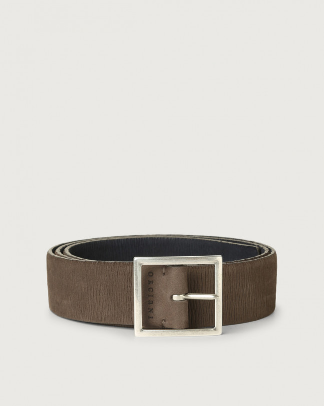 Orciani Long Beach Double reversible stretch leather belt Nabuck Grey+Blue