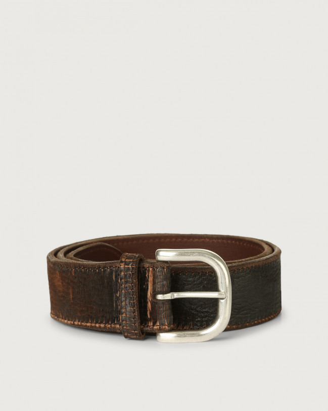 Orciani Cutting leather belt 4 cm Leather Chocolate