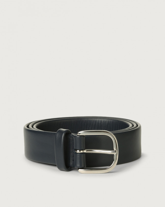Orciani Bali classic leather belt 3,5 cm Leather Deep Blue