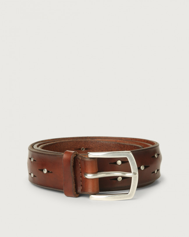 Orciani Bull Soft leather belt with micro-studs Leather Burnt
