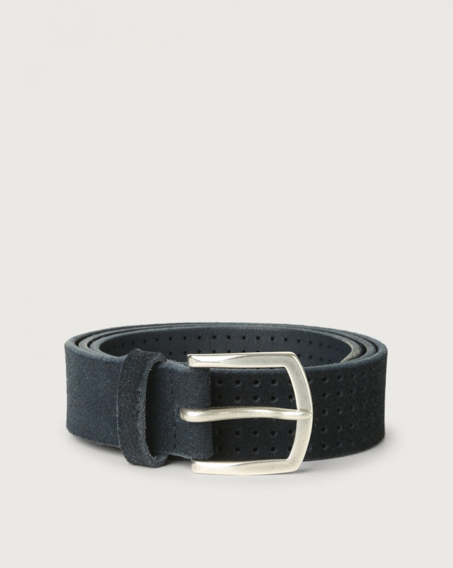 Orciani Hunting brushed suede belt Suede Blue