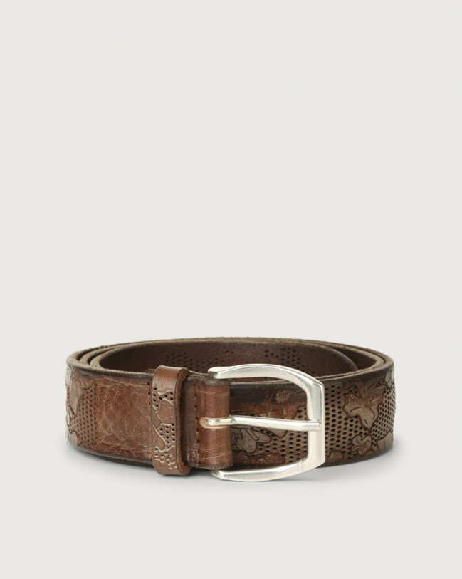 Orciani Stain Soapy leather belt with flower decoration 3,5 cm Leather Cognac