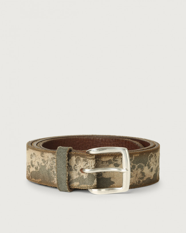 Orciani Fabric Flower fabric and leather belt Leather & cotton Mud