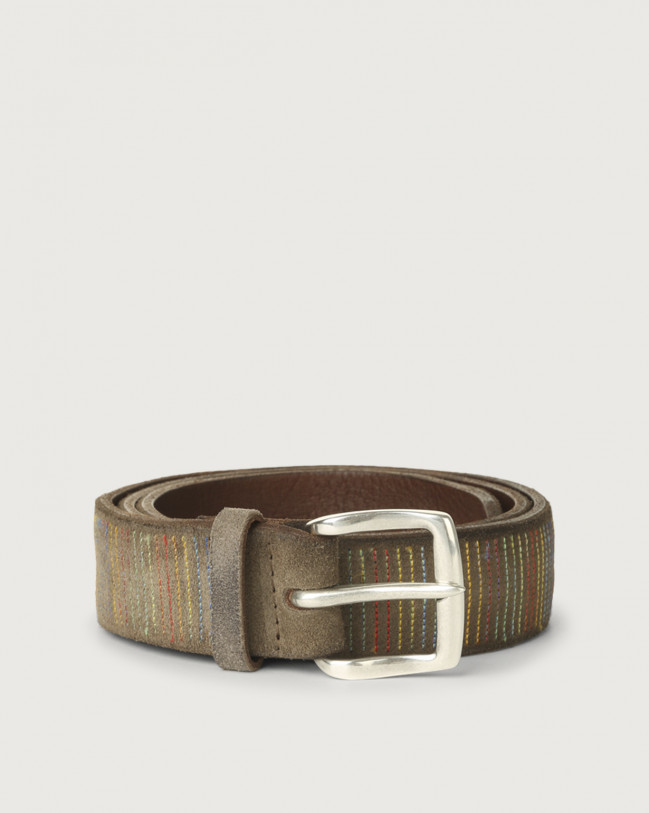Orciani Cloudy Stripe suede leather belt Suede Mud