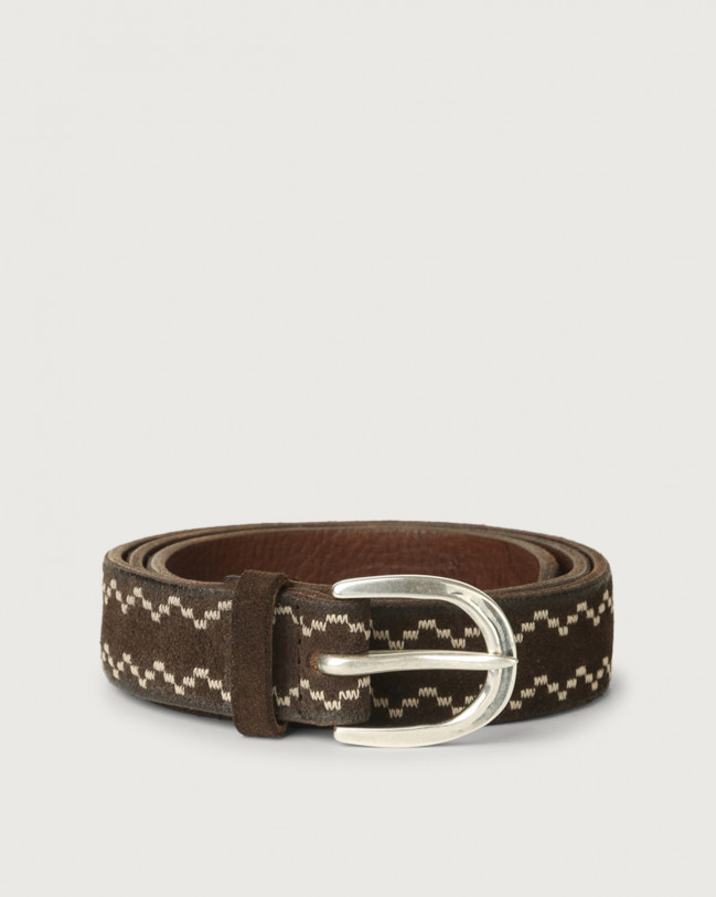Orciani Cloudy Frame suede leather belt Suede Chocolate