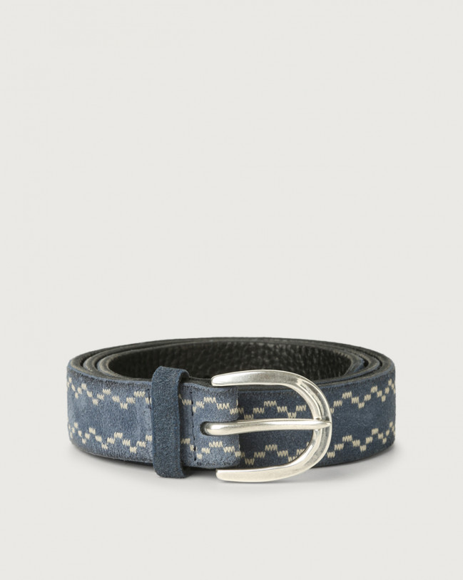 Orciani Cloudy Frame suede leather belt Suede Denim
