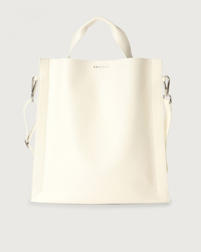 Orciani Iris Soft leather shoulder bag Leather White