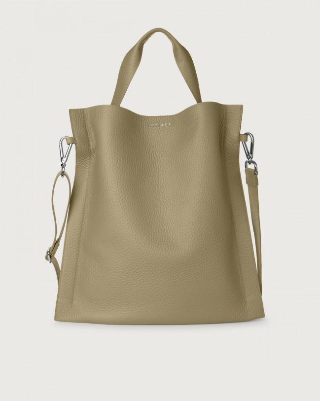 Orciani Iris Soft leather shoulder bag Leather Kaki