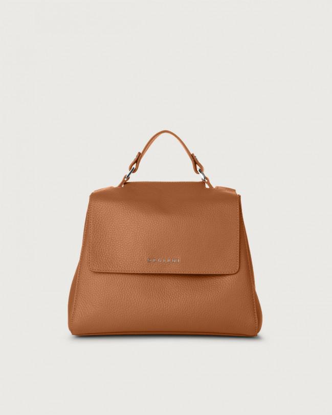 Orciani Sveva Micron small leather handbag with strap Leather Caramel