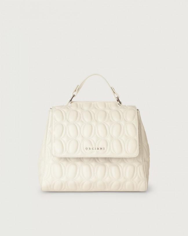 Orciani Sveva Matelassé small leather handbag with strap Leather White