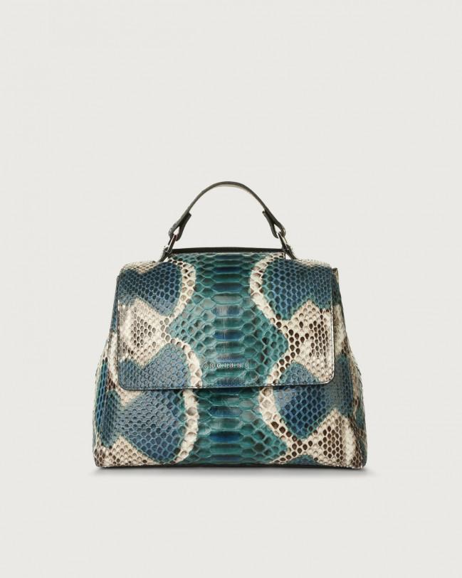 Orciani Sveva Naponos small python leather handbag Python Leather Blue