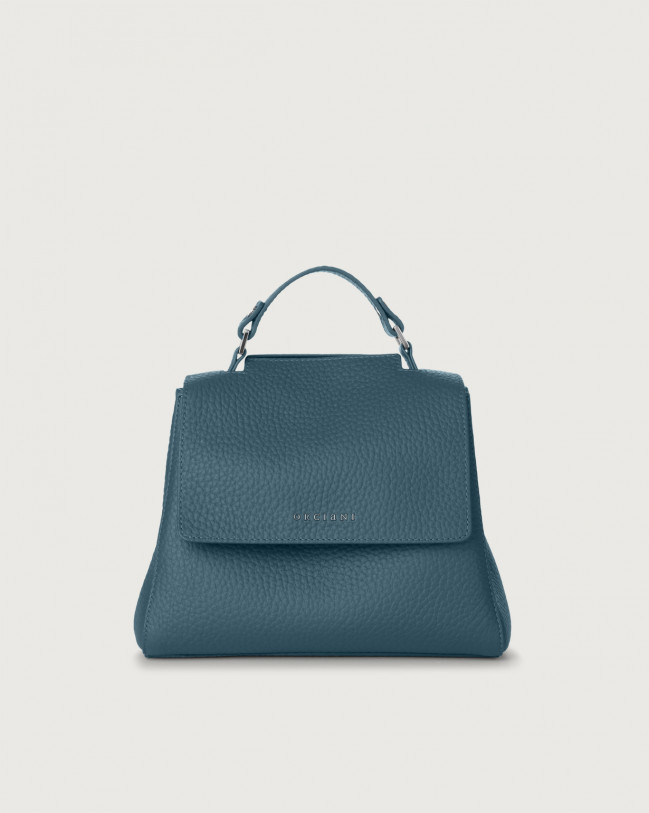 Orciani Sveva Soft small leather handbag with strap Leather Blue