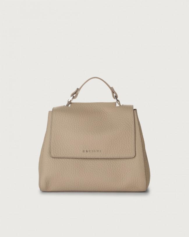 Orciani Sveva Soft small leather handbag with strap Leather Sand