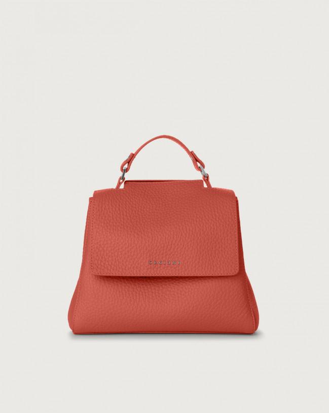 Orciani Sveva Soft small leather handbag with strap Leather Brick