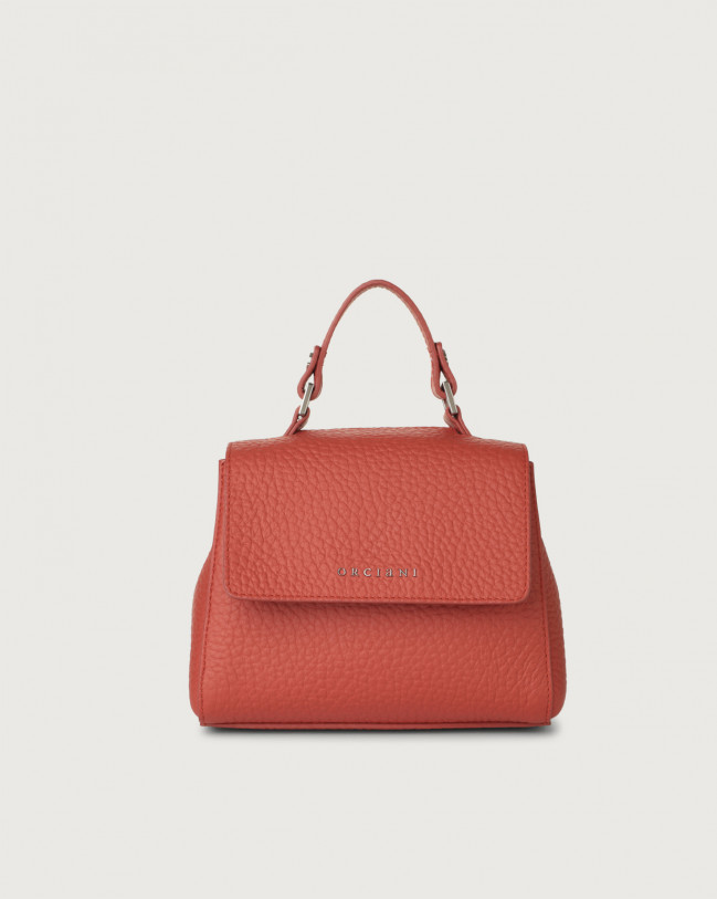 Orciani Sveva Soft mini leather handbag with strap Leather Brick