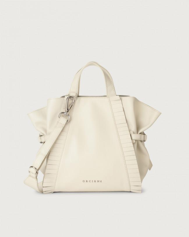 Orciani Fan Liberty Fringe small leather handbag Leather White