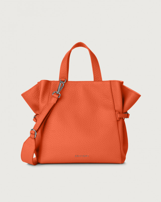 Orciani Fan Soft medium leather handbag Leather Coral
