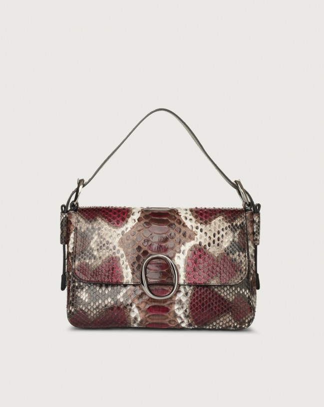 Orciani Soho Naponos python leather baguette bag with strap Python Leather Bordeaux