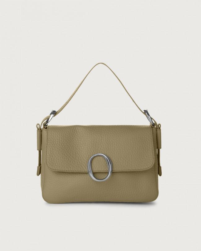 Orciani Soho Soft leather baguette bag with strap Leather Kaki