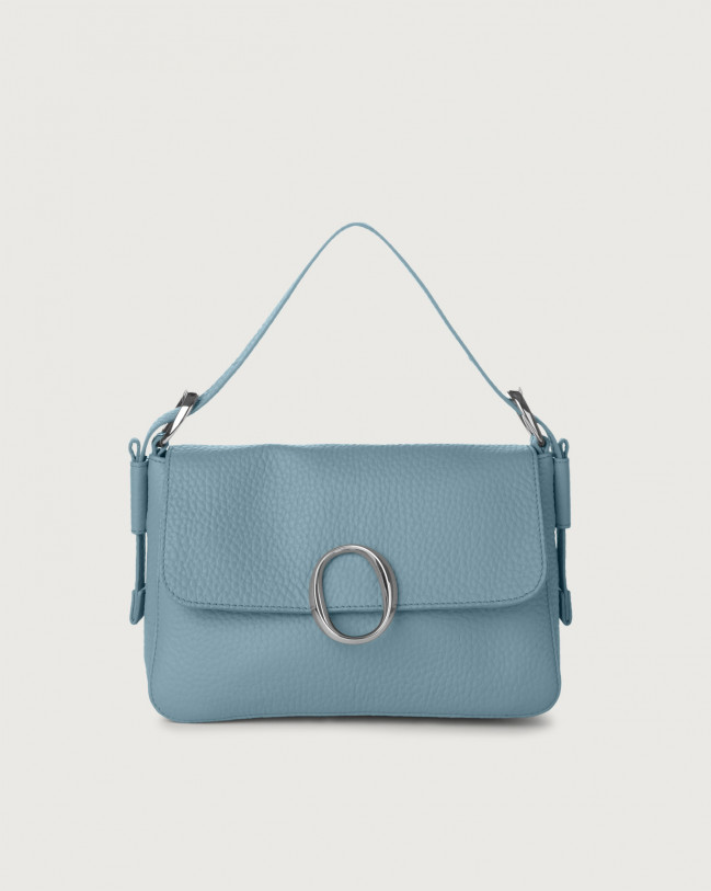 Orciani Soho Soft leather baguette bag with strap Leather Light blue