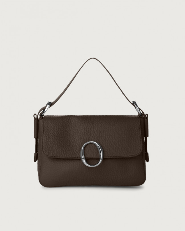 Orciani Soho Soft leather baguette bag with strap Leather Chocolate