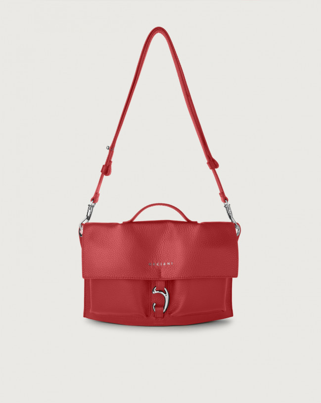 Orciani Scout Micron leather crossbody bag Leather Ruby red