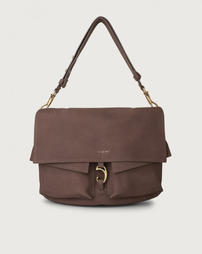 Orciani Scout Alicante nabuck leather shoulder bag Cocoa