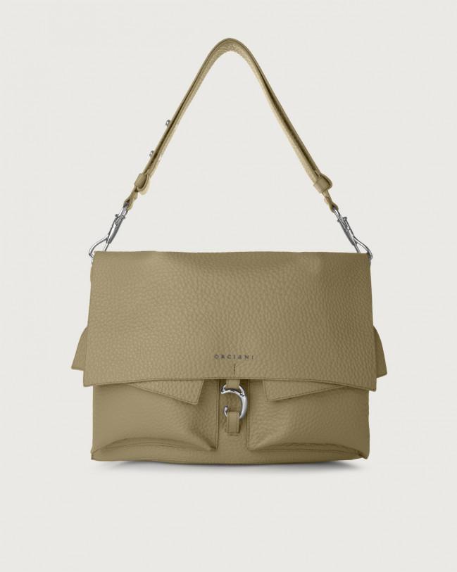 Orciani Scout Soft leather shoulder bag Leather Kaki
