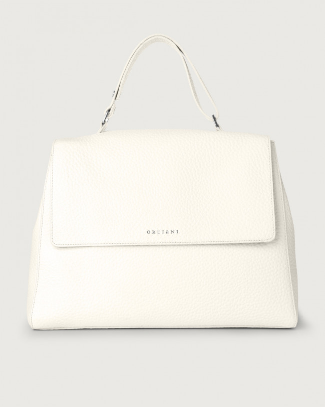 Orciani Sveva Soft large leather shoulder bag with strap Leather White